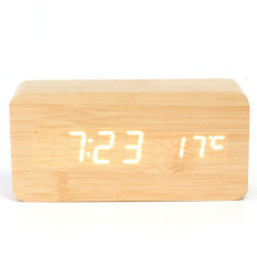 Cheapest Bamboo Wooden Digital White Led Alarm Modern Clock Calendar Thermometer Usb Aaa Audew Online