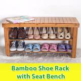 Sale Bamboo Wooden Shoe Rack With Bench Seat 70Cm Width Online Singapore