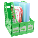 New Bao Core 3 Divider Section Magazine File Holder Frame Tray Shelf Lever Arch File Folders Storage Rack Sturdy Display Stand Desk Tidy Supplies Green Intl