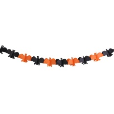 Bat Pumpkin Ghost Halloween Paper Garlands Banner Bunting Party Decoration(orange)-Bat - Intl By Crystalawaking.