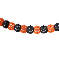 Bat Pumpkin Ghost Halloween Paper Garlands Banner Bunting Party Decoration(orange)-Pumpkin - Intl By Crystalawaking.