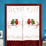 Japanese Style Embroidery Cloth Curtain With Free Rod Cheap