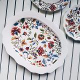 Cheap Batik Brown Floral Big Oval Platter