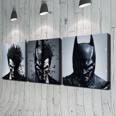 Batman and Joker 3pcs Modern Moive Portrait HD Oil Painting Print on Canvas Home Wall Decoration No Framed