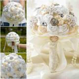 Best Deal Beaded Brooch Silk Bride Bridal Wedding Bouquet Bridesmaid Artificial Flower Intl