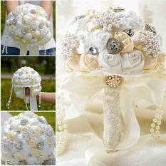 Great Deal Beaded Brooch Silk Bride Bridal Wedding Bouquet Bridesmaid Artificial Flower Intl