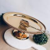 Latest Beaded Trim Gold 14 Chrome Cake Stand