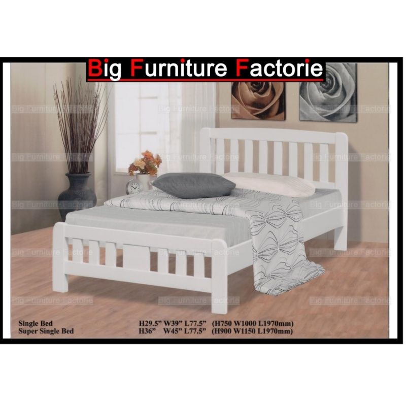 BFF3601-WB Solid Wooden Bed (White)