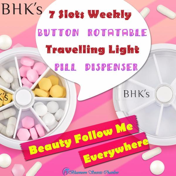 BHKs 7 Slots Portable Light Rotary Pill Dispenser/7格迷你旋轉收納盒