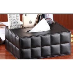 Black Desktop Leather Tissue Box Organizer X 1 By Lifestyle Living.