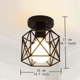 Black Metal Cage Nordic Lighting Vintage Industrial Style Ceiling Light Intl For Sale