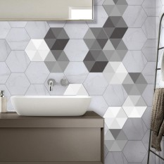 BolehDeals 10 Pieces Retro Style PVC Tile Stickers Waterproof Non-Slip Floor Stickers Wall Decal for Living Room Bathroom Kitchen - intl