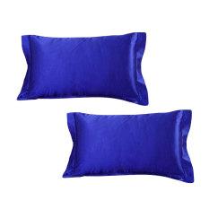 Cheapest Bolehdeals 2X Silk Soft Satin Standard Pillow Cushion Cover Pillowcase Decor Dark Blue Intl Online