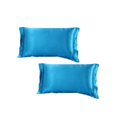 Bolehdeals 2X Silk Soft Satin Standard Pillow Cushion Cover Pillowcase Decor Lake Blue Intl Price Comparison