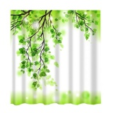 Sale Bolehdeals Digital Printed Shower Curtain Set With Hooks Bathroom Use Green Leaf Intl
