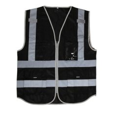 Bolehdeals Hi-Vis Safety Vest With Zipper Reflective Tape Jacket Waistcoat Black - Intl By Bolehdeals