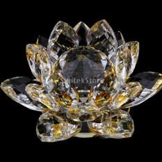 BolehDeals Mini Buddhist Crystal Glass Lotus Flower Model Feng Shui Decor 8x5cm Yellow - intl