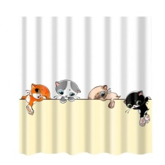 Bolehdeals Polyester Shower Curtain With 12 Hooks Home Bathroom Decoration Cartoon Cat - Intl By Bolehdeals.