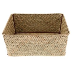 BolehDeals Pure Handmade Seaweed Woven Tray Light Food Storage Basket Box Holder Case L - intl