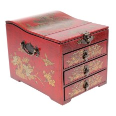 BolehDeals Vintage Wooden Chest Home Keepsake Decor Woman Make Up Dresser for Jewelry Necklace Case Box - intl