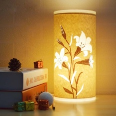 boobc Hand-Carved Hollow Parchment Lamp, Desk Lamp Bedroom Bedside Lamp (Lily) - intl