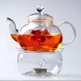 Buy Borosilicate Glass Tea Pot Set Infuser Teapot Warmer 6 Double Wall Tea Cups Oem Cheap