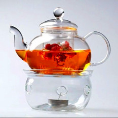 Low Price Borosilicate Glass Tea Pot Set Infuser Teapot Warmer 6 Double Wall Tea Cups Intl