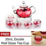 Latest Borosilicate Glass Teapot Set 800Ml Infuser Teapot Warmer 6 Double Wall Tea Cups Buy 1 Get 1 Free Intl