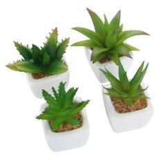 boyun Set Of 4 Modern White Ceramic Mini Aloe Potted Artificial Succulent Plants - intl