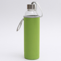 Brand New Bpa Glass Water Bottle Filter Infuser Protective Bag 550Ml Green