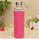Cheap Bpa Glass Water Bottle Filter Infuser Protective Bag 550Ml Pink