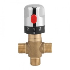Brass Thermostatic Mixing Valve Water Temperature Pipe Basin Thermostat Control - intl