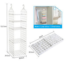 Mimosifolia Breathable Hanging Shelves Hanging Closet Organizer for Shoes Accessory and Clothes Storage 2 Large lattice 2 Small lattice - intl