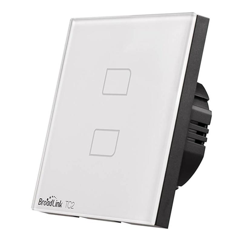 Broadlink TC2 Wifi 2 Gangs Touch Switch Panel Remote Control Light Controller - EU Standard - intl