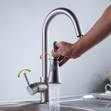 How Do I Get Brushed Nickel Pull Down Swivel Kitchen Sink Faucet Single Handle Single Hole Mixer Tap Rain And Bubbling Modes Brass Kitchen Faucet Intl