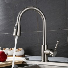 Cheap Brushed Steel Modern Pull Out Kitchen Sink Faucet Dual Spray Swivel Spout Intl Online