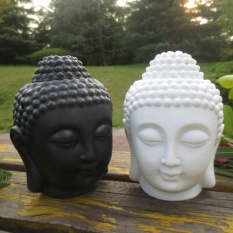 Buddha Head Aromatic Oil Burner Ceramic Aromatherapy Lamp Candle Aroma Furnace Oil Lamp Essential Home Decoration Incense Holder (Black) - intl