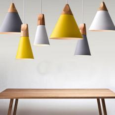 BUYINCOINS E27 Simple Wood Pendant Ceiling Hanging Lamp Chandelier Kitchen Light Fixture M Black - intl