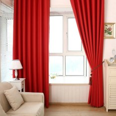 BUYINCOINS Solid Color Shade Window Kitchen Bathroom Curtain Door Divider Sheer Panel Drapes Scarf Curtain(Red) - intl