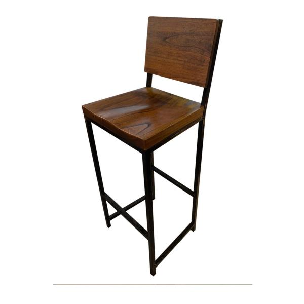 C47B Industrial Bar Chair 2 Black - Teak