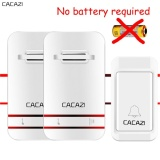 Cacazi Home Living Wireless Doorbell V027 No Battery Need Waterproof Smart Door Bell Cordless Uk Plug Remote Ac 110V 220V 1 Emitter 2 Receiver Intl On Line