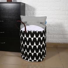 Low Cost Canvas Handbag Laundry Basket Storage Bag Leather Handles Intl