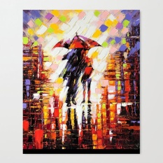 Canvas Prints Wall art 40*30CM- in the rain canvas painting Modern Home Decoration Wooden Framed - intl