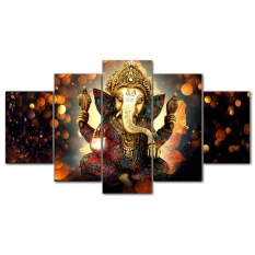 Canvas Wall Art Home Decor for Living Room HD Prints 5 Pcs Elephant Trunk God Modular Poster Ganesha Pictures
