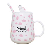 How Do I Get Cartoon Cow Ceramic Mug Milk Cup With Lid And Spoon 420Ml Intl