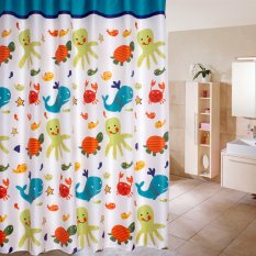 Cartoon Ocean Lovely Fish Animal Pattern Bathroom Fabric Shower Curtain 02(export) By Crystalawaking.