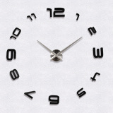 Catwalk Large 3D Diy Mirror Surface Wall Clock Sticker Black Intl Sale