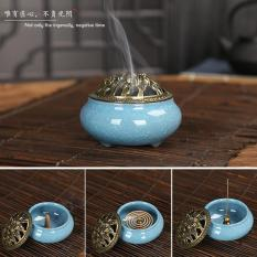 Celadon ceramic incense burner, ice cracking furnace smaller aroma furnace(Sky Blue) - intl