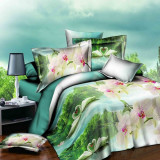 Low Price Channy 3D Swan Single Size Bedding Set Sheet Pillowcase Quilt Queen Duvet Cover