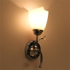 CHEER Single/Double Head Wall Sconce Chrome Steel Glass Shape Light Corridor Lamp - intl